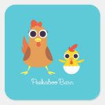 Maria y bandido los pollos pegatina cuadrada