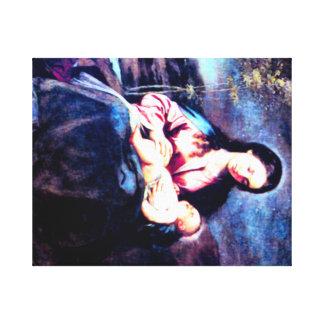 Maria y bebé bendecidos Jesús Impresión En Lona Estirada