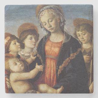 Maria y bebé Jesús con navidad de los ángeles Posavasos De Piedra