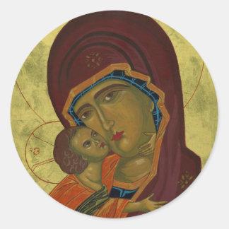 Maria y bebé Jesús Pegatina Redonda