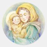Maria y bebé preciosos Jesús Pegatina Redonda