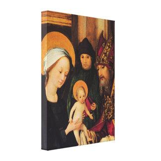Maria y gran sacerdote con el Cristo por Holbein Impresión En Tela