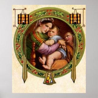 Maria y Jesús con acebo Posters