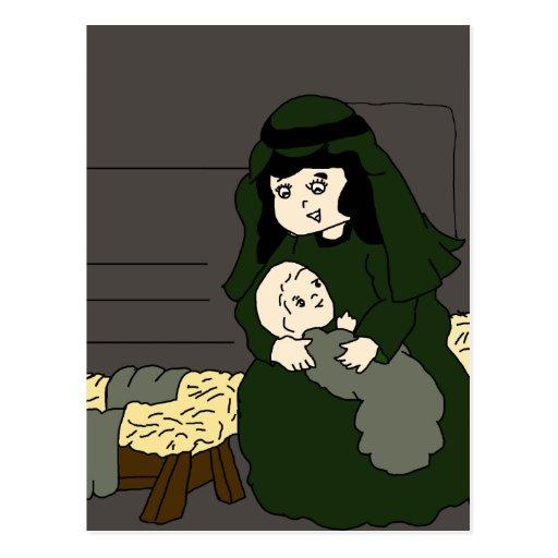 Maria y Jesús en verde Tarjeta Postal