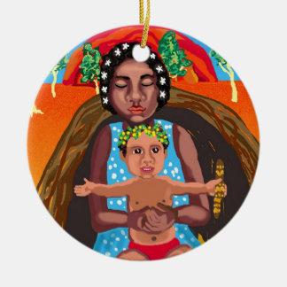 Maria y Jesús - mensaje para todas las culturas Adorno Navideño Redondo De Cerámica
