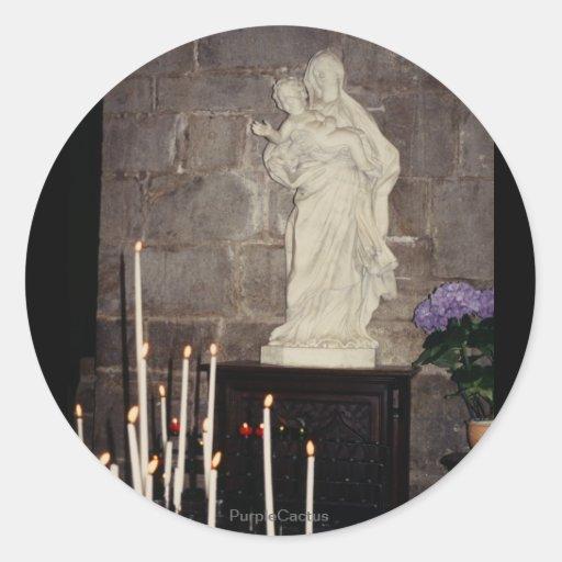 Maria y Jesús Pegatina Redonda