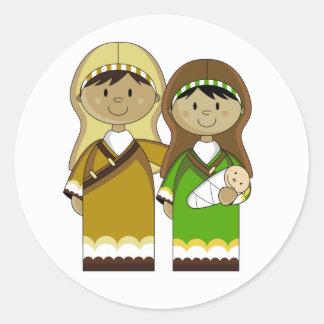 Maria y José con el pegatina de Jesús del bebé