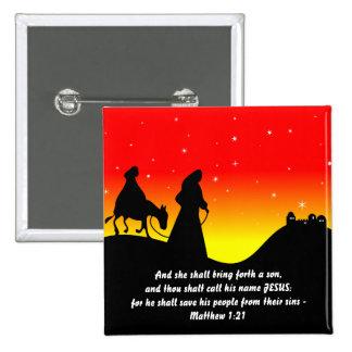 Maria y José, verso de la escritura de la biblia Pin Cuadrado