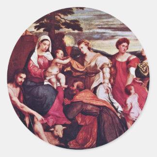 Maria y las tres virtudes teológicas pegatinas redondas