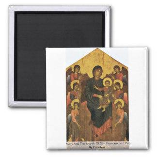 Maria y los ángeles de San Francisco en Pisa Imán Cuadrado