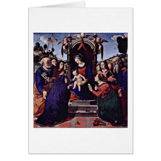 Maria y los ángeles del niño de Piero Di Lorenzo Tarjeta De Felicitación