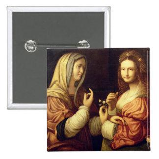 Maria y Martha (aceite en el panel) Pin Cuadrado