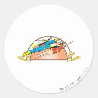 Maria y mosca menor pegatina redonda