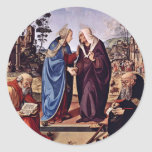Maria y St. Elizabeth San Nicolás y St. Anthon Pegatina Redonda