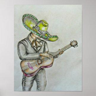 Mariachi con la guitarra impresiones