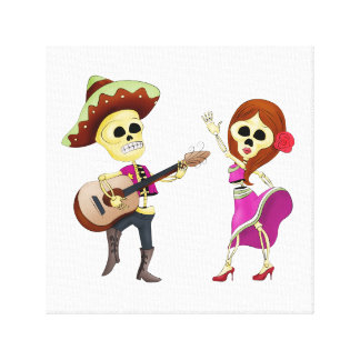 Mariachi Dancing Couple Day of the Dead Canvas Print
