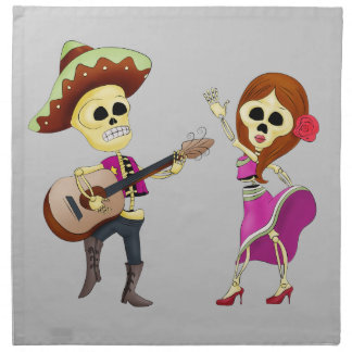Mariachi Dancing Couple Day of the Dead Printed Napkins