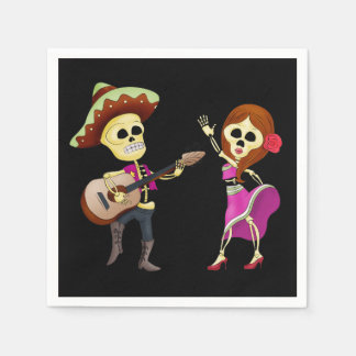Mariachi Dancing Couple Day of the Dead Paper Napkin