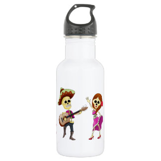 Mariachi Dancing Couple Day of the Dead 18oz Water Bottle