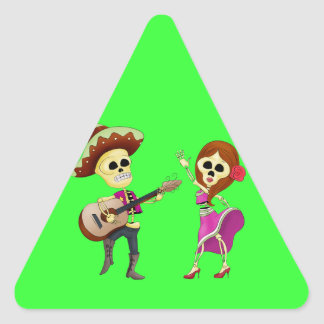 Mariachi Dancing Couple Day of the Dead Triangle Sticker