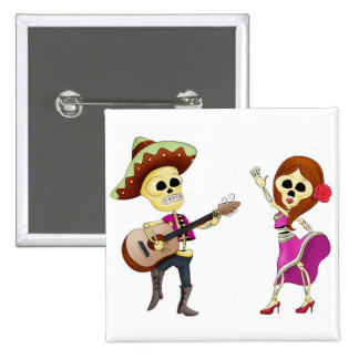 Mariachi Dancing Day of the Dead Couple 2 Inch Square Button