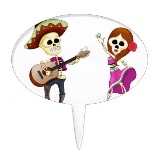 Mariachi Dancing Day of the Dead Couple Cake Topper