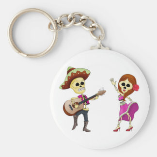 Mariachi Dancing Day of the Dead Couple Key Chain