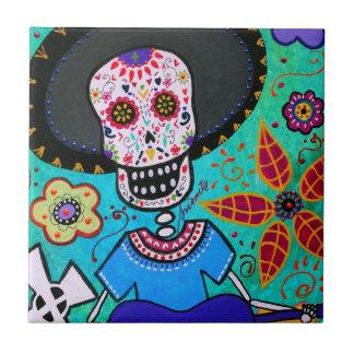 Mariachi de Dia de los Muertos Señor Azulejo Ceramica