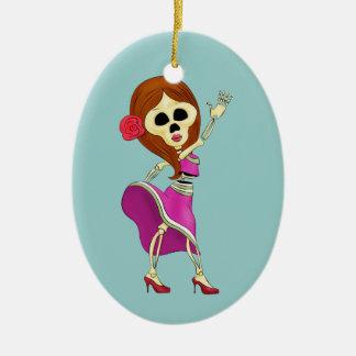 Mariachi Female Sugar Skull Ceramic Ornament