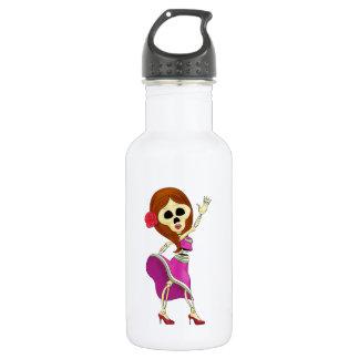 Mariachi Female Sugar Skull 18oz Water Bottle