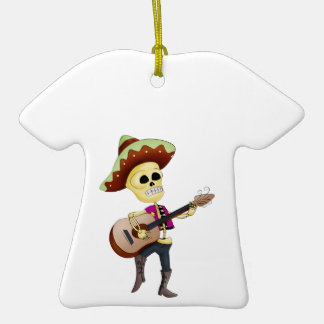 Mariachi Male Sugar Skeleton Double-Sided T-Shirt Ceramic Christmas Ornament