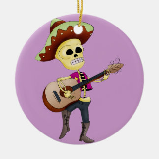 Mariachi Male Sugar Skeleton Double-Sided Ceramic Round Christmas Ornament
