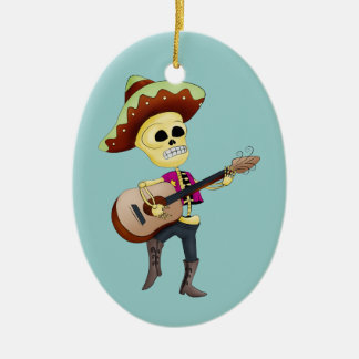 Mariachi Male Sugar Skeleton Double-Sided Oval Ceramic Christmas Ornament
