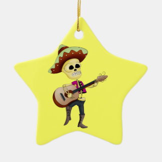 Mariachi Male Sugar Skeleton Double-Sided Star Ceramic Christmas Ornament