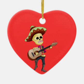 Mariachi Male Sugar Skeleton Double-Sided Heart Ceramic Christmas Ornament