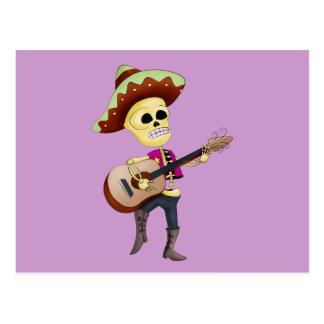 Mariachi Male Sugar Skeleton Postcard