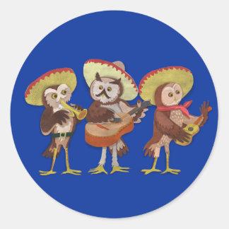 Mariachi Owl band Classic Round Sticker
