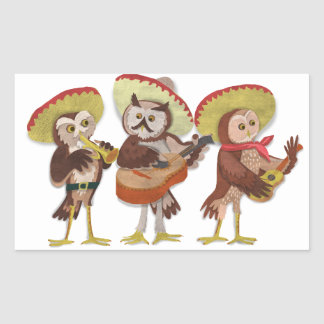 Mariachi Owl band Rectangular Sticker