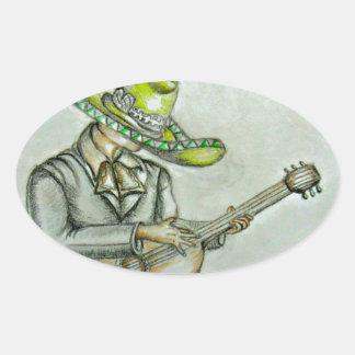 mariachi pegatina ovalada