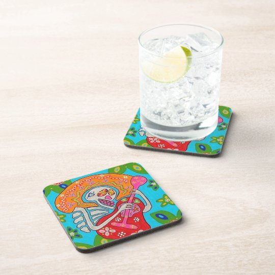 Mariachi Serenade - Day Of The Dead Skeleton Drink Coaster