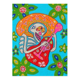 Mariachi Serenade - Day Of The Dead Skeleton Postcard