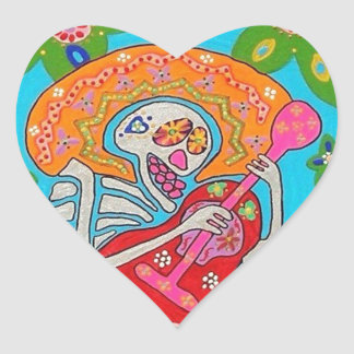Mariachi Serenade - Day Of The Dead Skeleton Heart Stickers