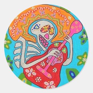 Mariachi Serenade - Day Of The Dead Skeleton Round Sticker