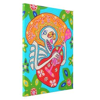 Mariachi Serenade Skeleton Canvas Stretched Canvas Print