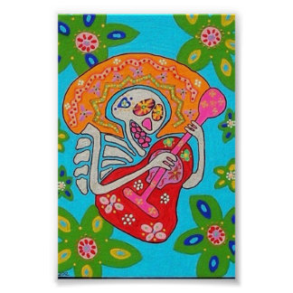 Mariachi Serenade Skeleton Poster