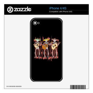 Mariachi Skeleton Trio iPhone 4S Decals