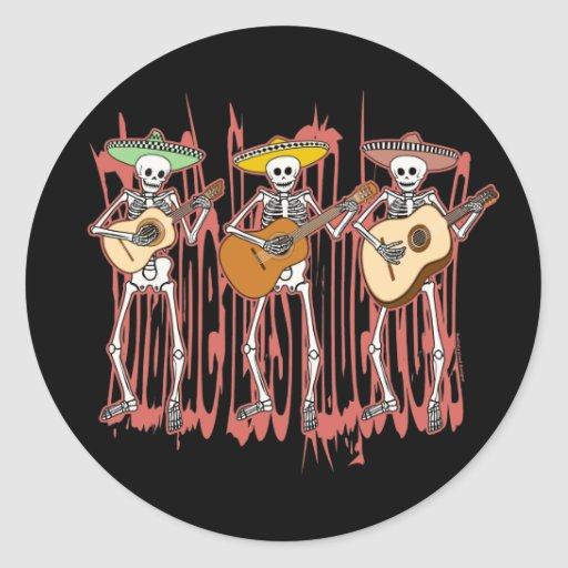 Mariachi Skeleton Trio Round Sticker