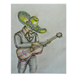 Mariachi with guitar poster