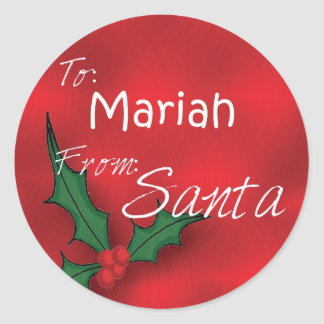 Mariah Personalized Holly Gift Tags From Santa