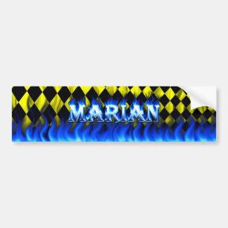 Marian blue fire and flames bumper sticker design.
